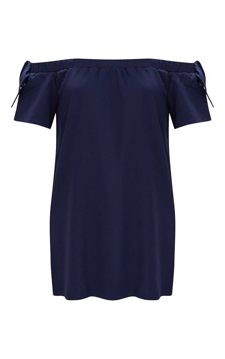 Navy Crepe Bardot Swing Dress 3