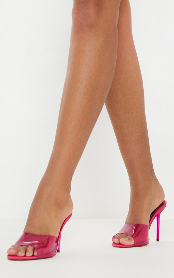 Pink Mid Heel Clear Mule