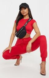 Basic Red Short Sleeve Crop T Shirt 1