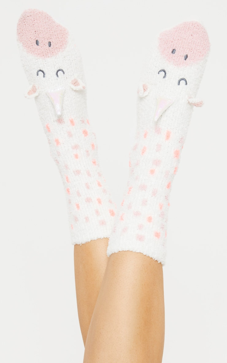 White Unicorn Fluffy Socks