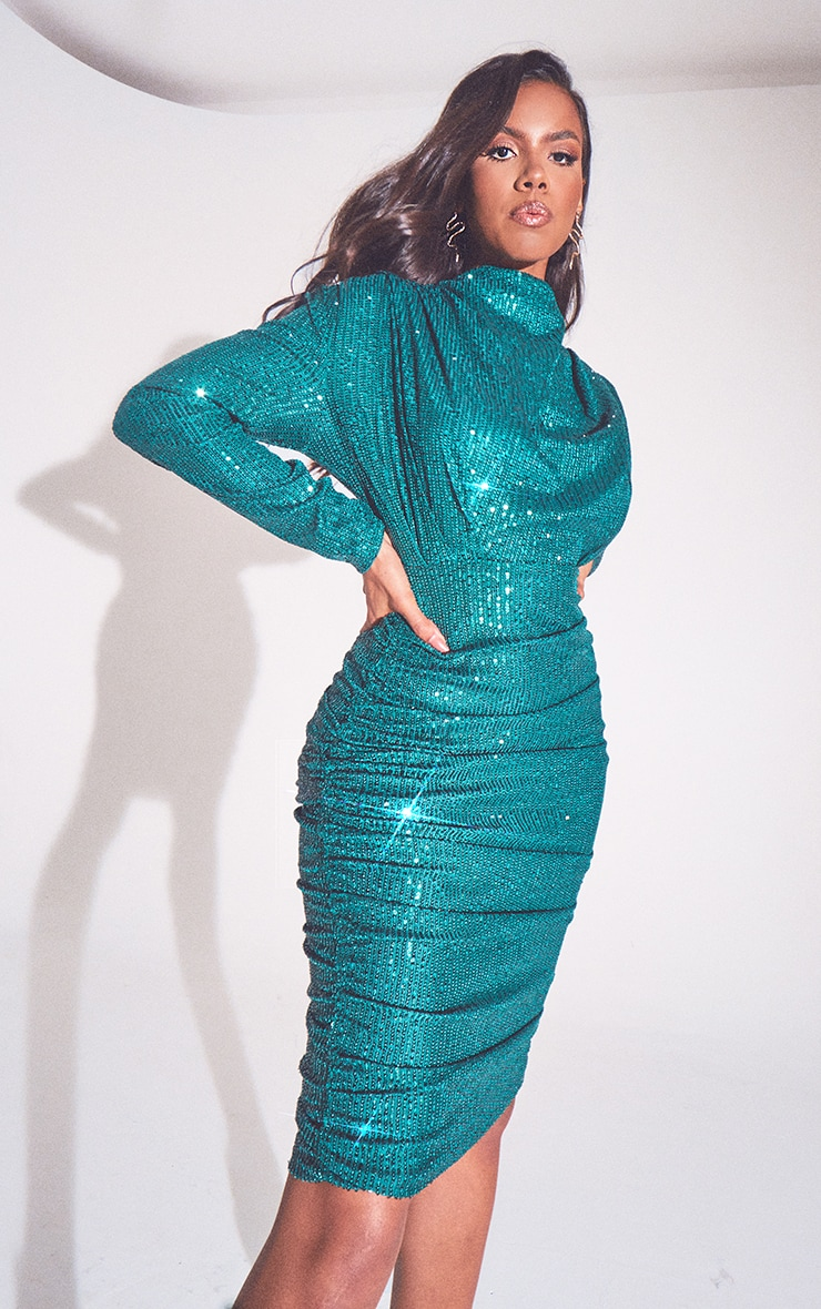 Emerald Green Sequin Shoulder Pad Ruched Front Midi Dress 3