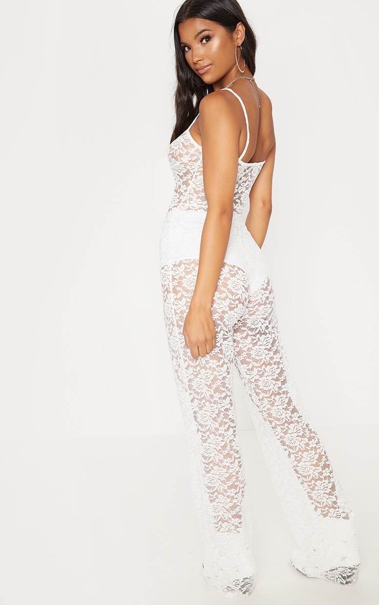 White Lace Straight Neck Jumpsuit 2