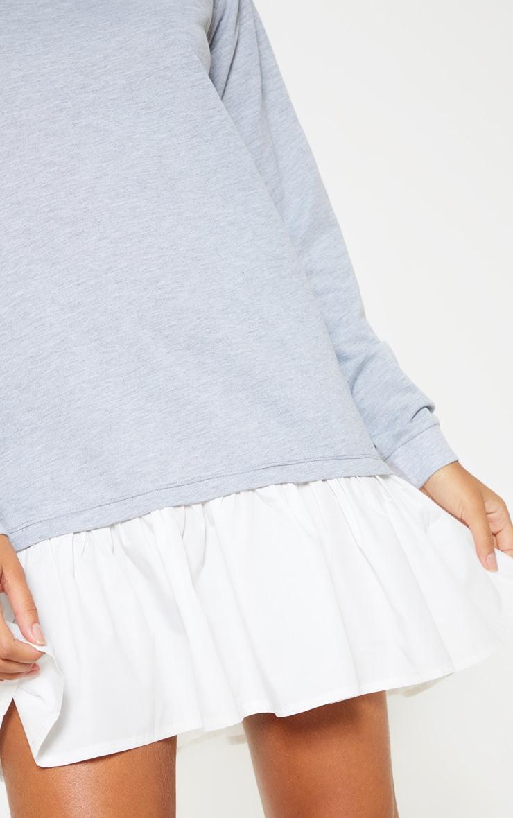Grey Sweater Dress with Poplin Frill 5