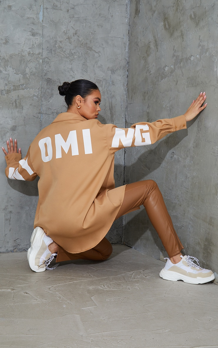 Sand Wyoming Slogan Oversized Shirt