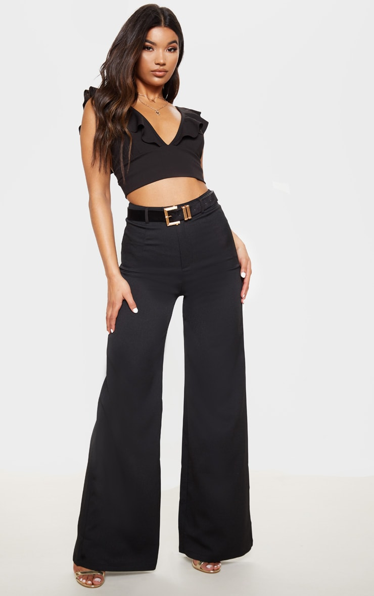 Black Frill Edge Plunge Crop Top  4