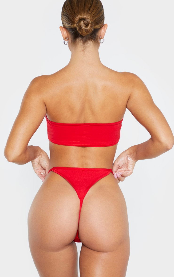 Red Mix & Match String Thong Bikini Bottom 6