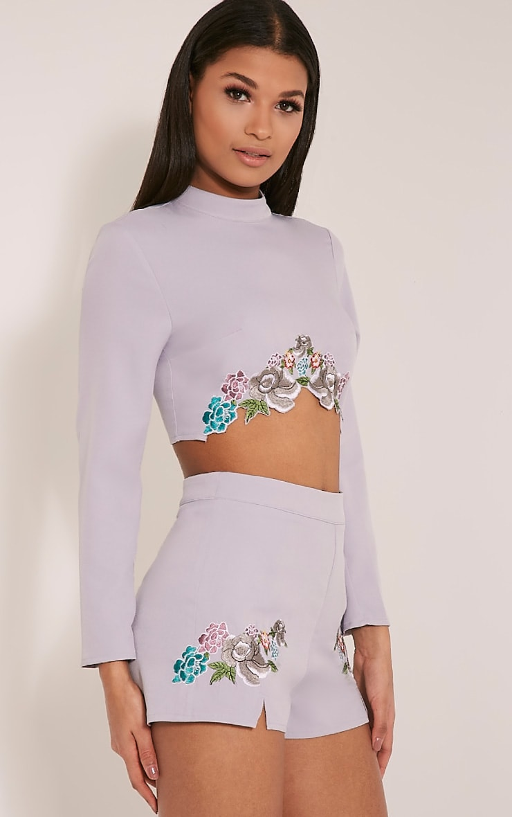 Angie Grey Floral Embroidered Crop Top 4