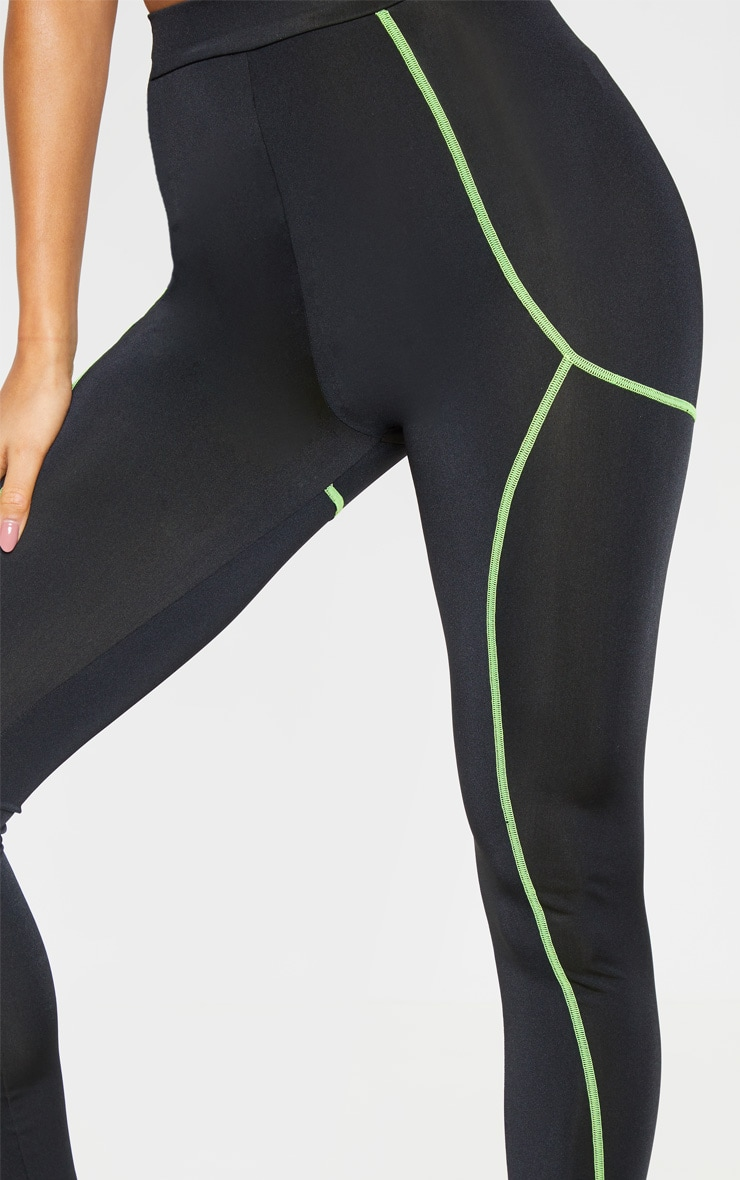 Black Neon Contrast Stitch Gym Leggings 4