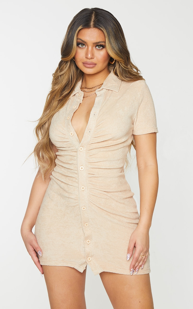 Stone Ruched Button Down Collar Detail Towelling Bodycon Dress 1