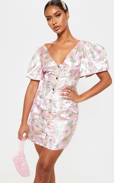 Pink Jacquard Puff Sleeve Button Down Bodycon Dress