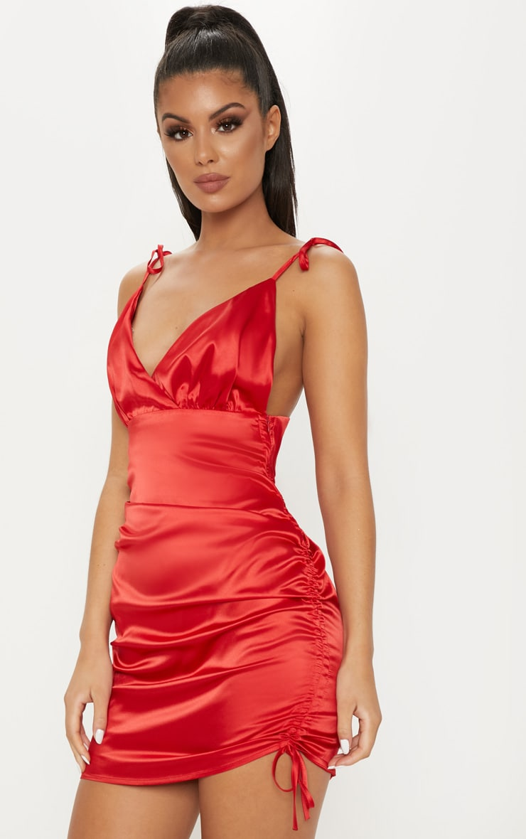 99047edcb11 Red Satin Strappy Ruched Bodycon Dress image 1