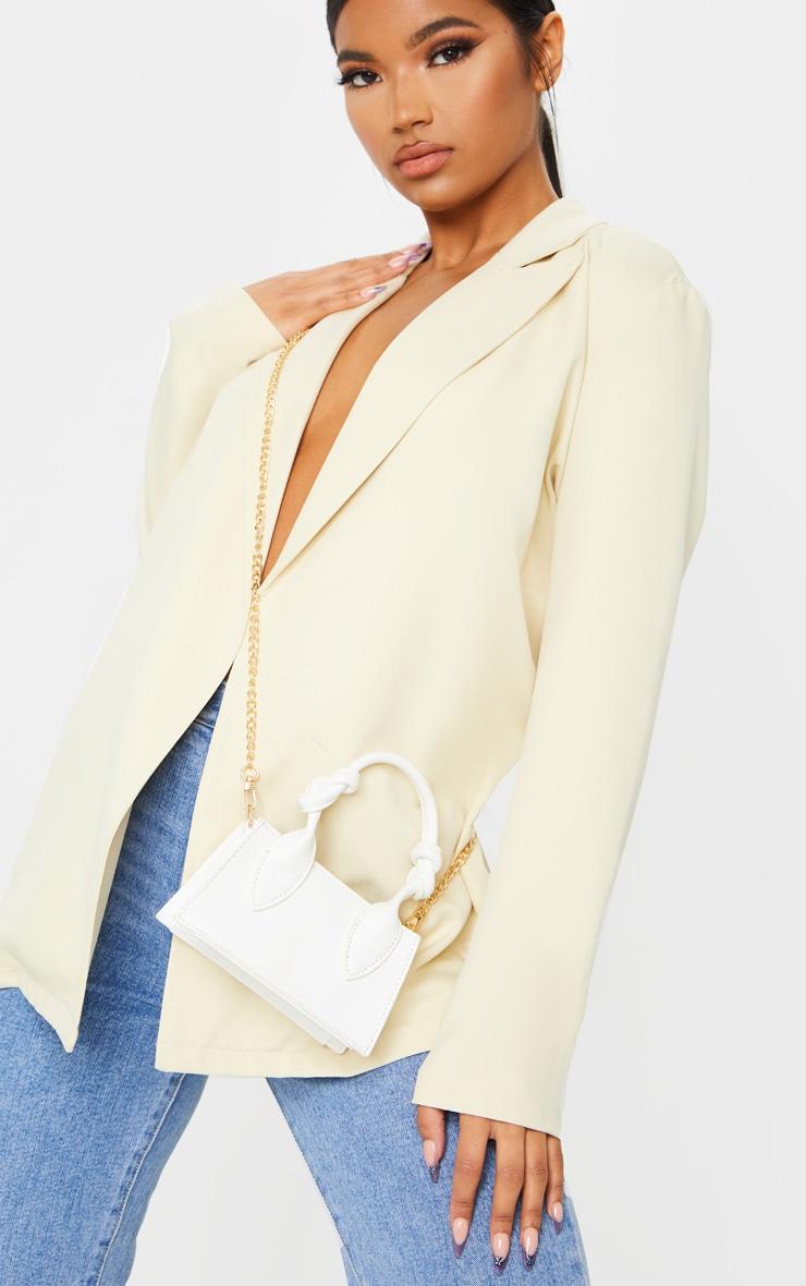 White PU Knotted Single Handle Cross Body Bag 1
