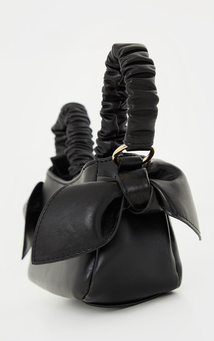 Black Ruched Handle Double Bow Shoulder Bag 3