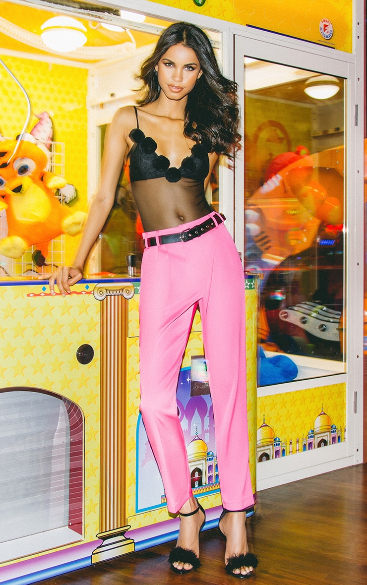 Floss Pink High Waisted Tapered Trousers 2