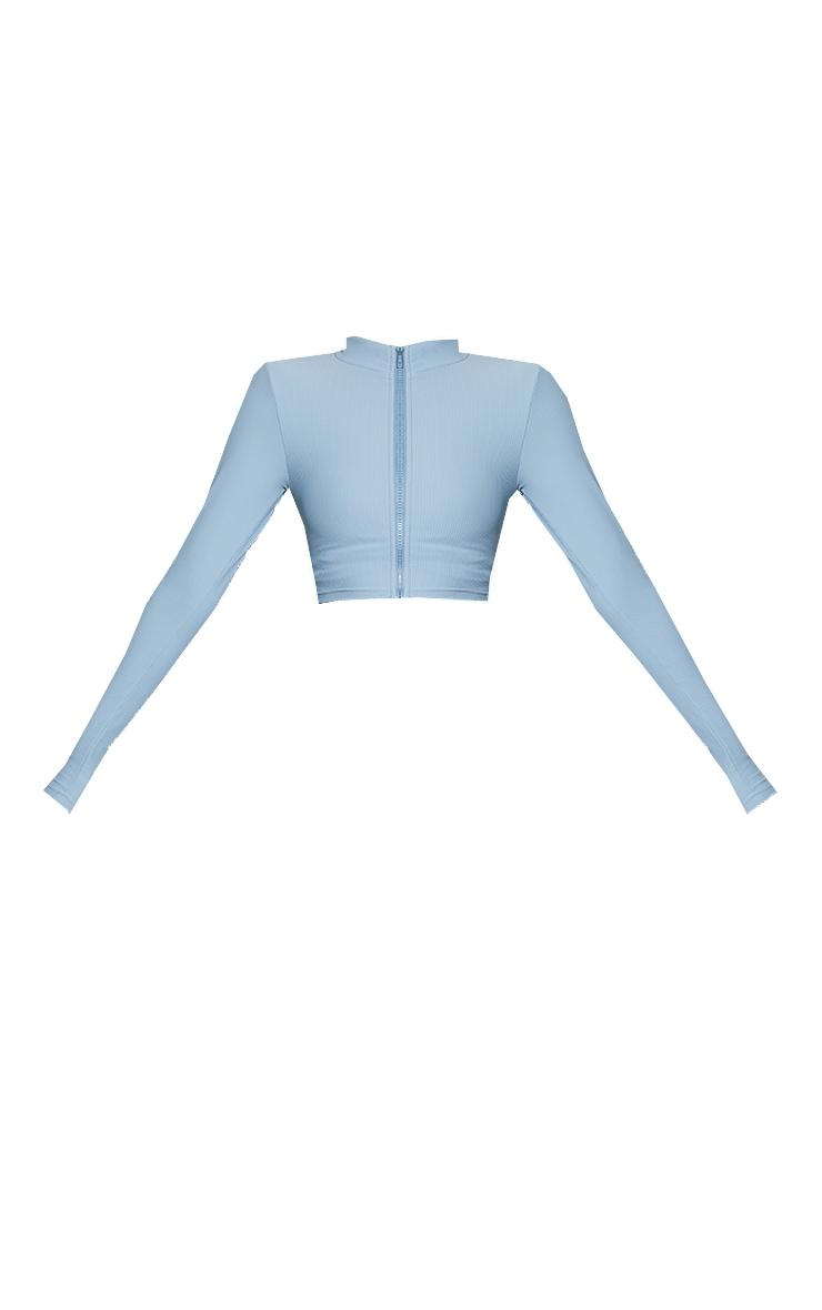 Dusky Blue Ribbed Textured Zip Up Sports Jacket 5