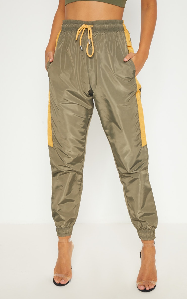 Sage Green Contrast Panel Shell Trouser 2