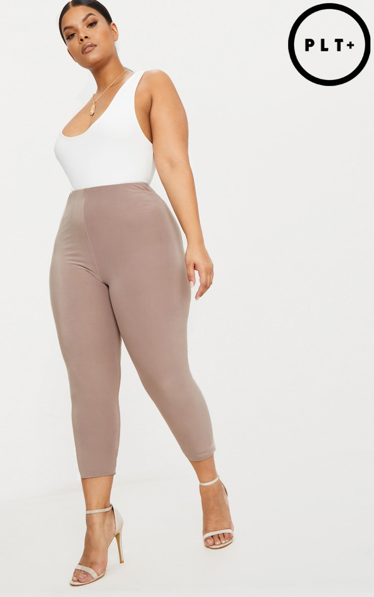 Plus Second Skin Taupe Slinky Cropped Leggings 1
