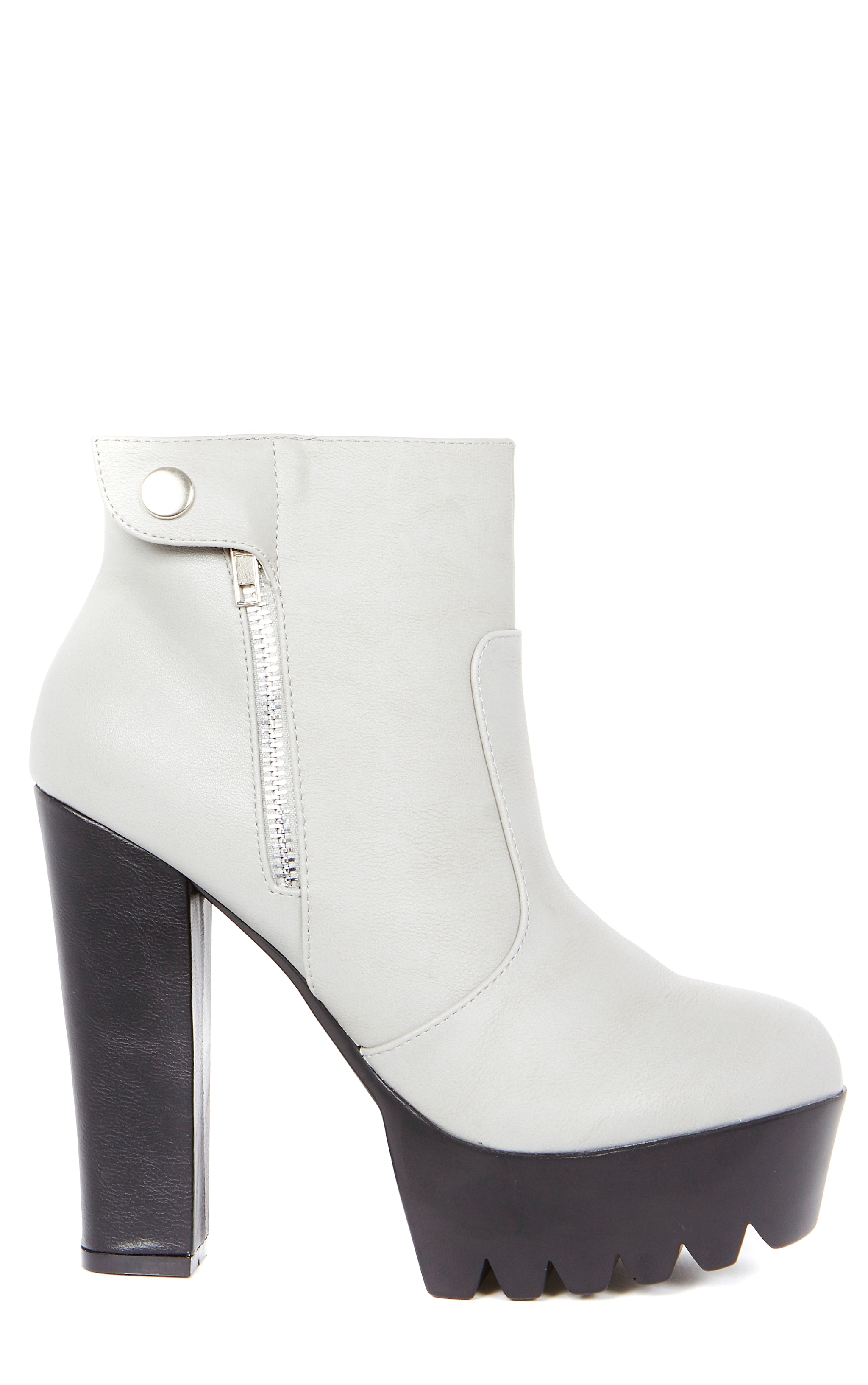 Liberty Grey Cleated Sole Zip Detail Boot  3