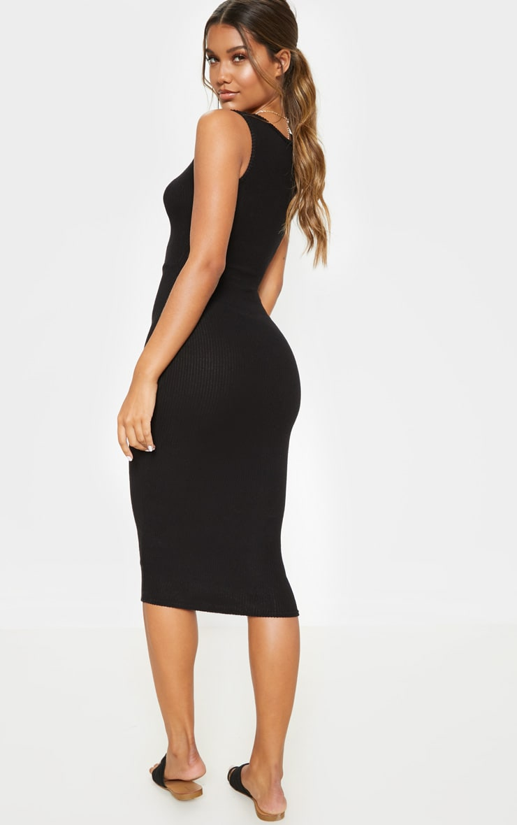 Black Brushed Rib Popper Front Midi Dress 2
