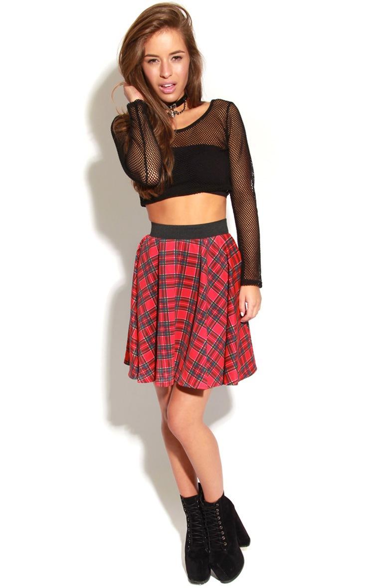 Vivienne Red Tartan Skater Skirt-S/M 1