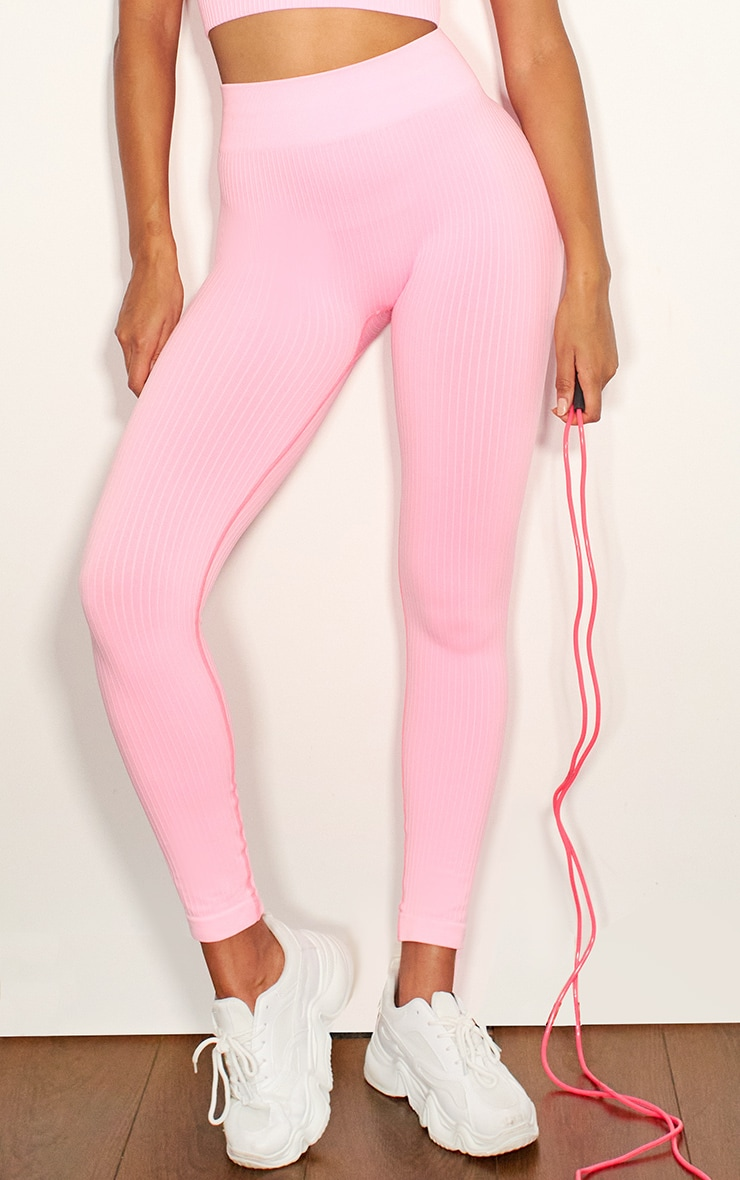 Pink Premium Ribbed Seamless Legging 2