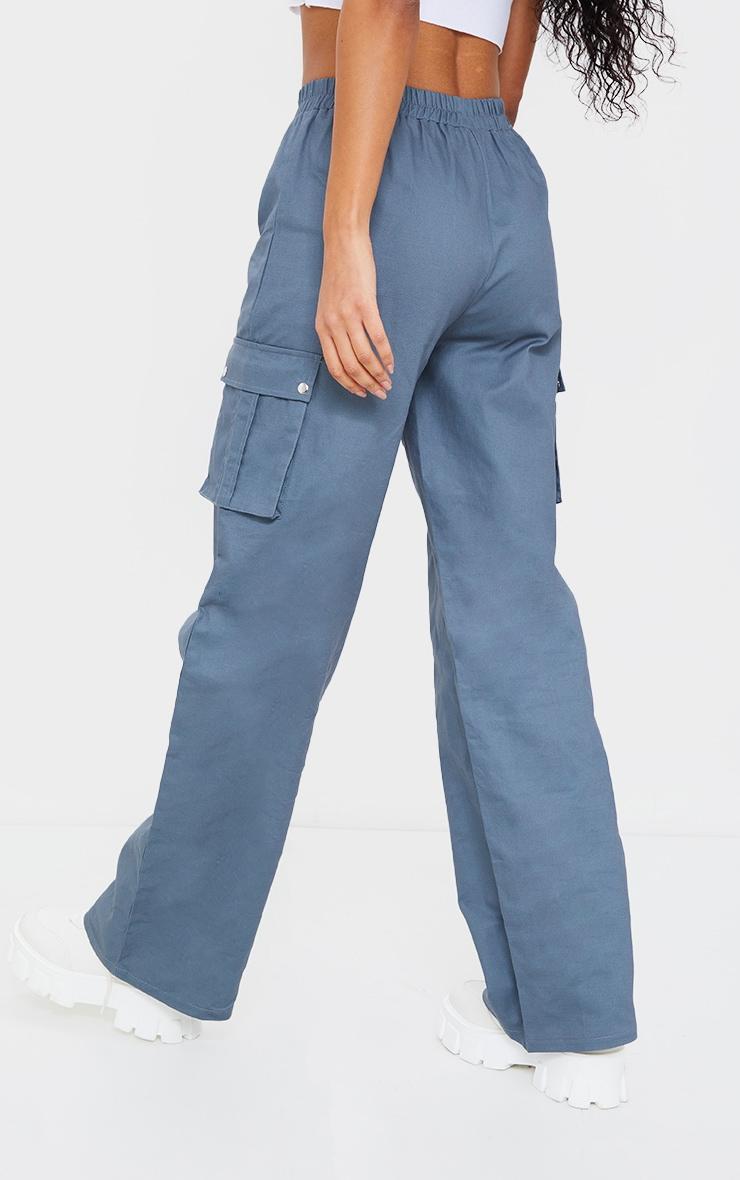 Blue Wide Leg Cargo Trousers 3