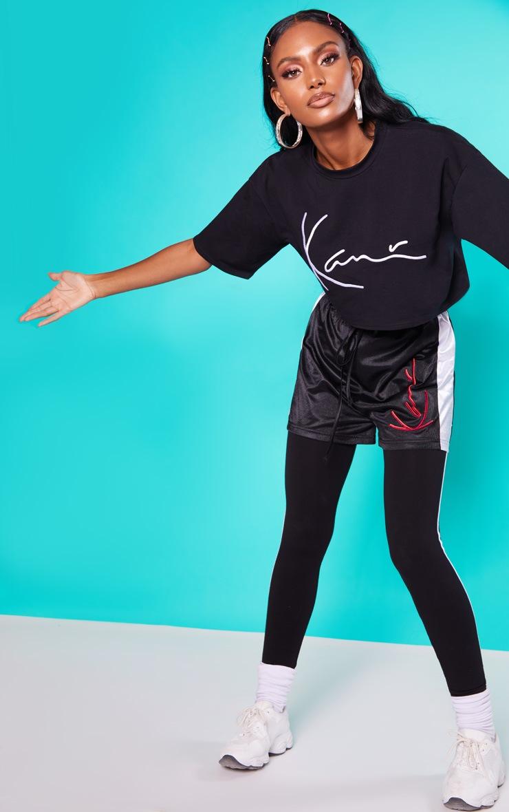 KARL KANI Black Embroidered Crop T Shirt  5