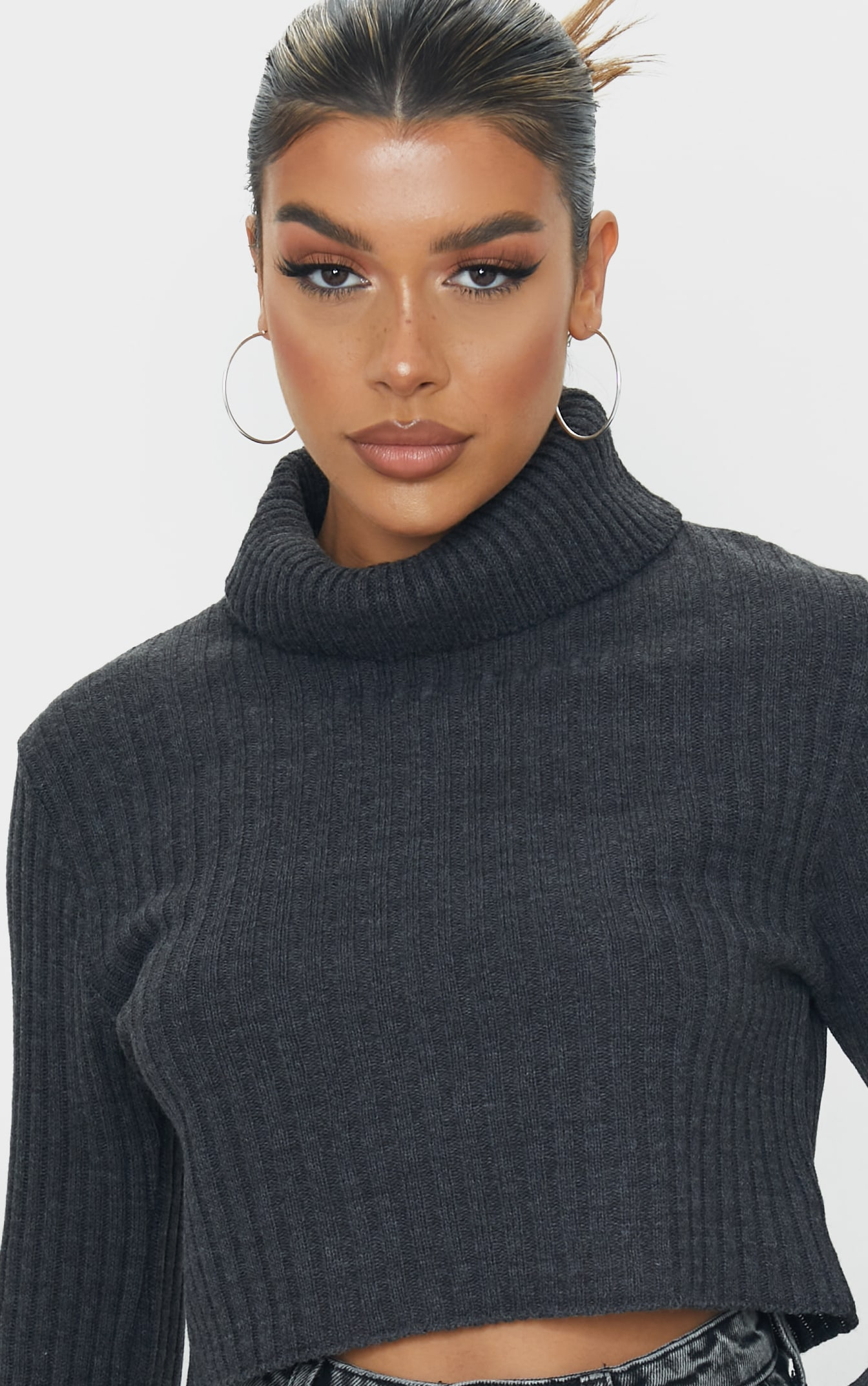 Charcoal Roll Neck Turn Back Sleeve Cropped Sweater 4