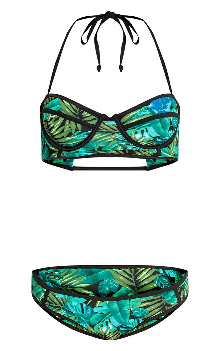 Larah Palm Print Balcony Bikini Set 3