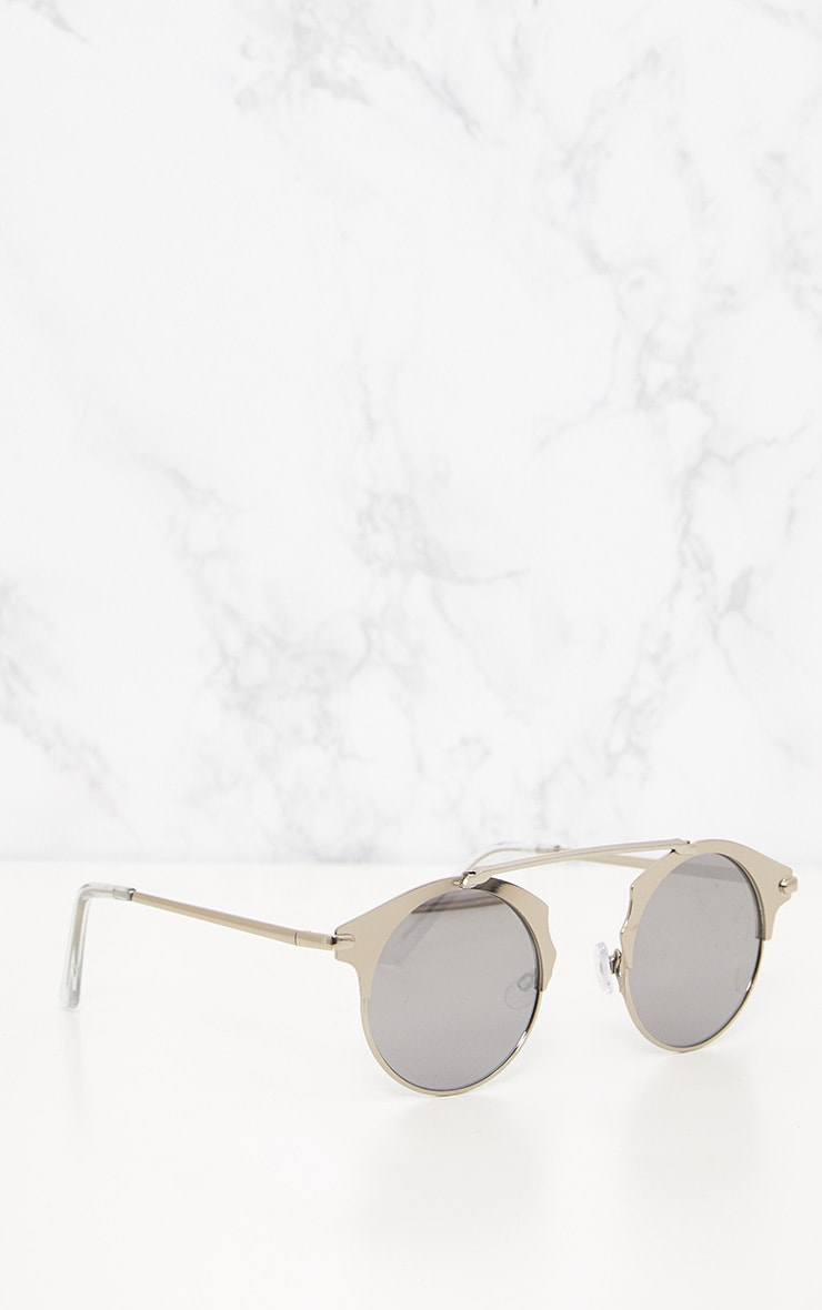 Silver Curved Top Bar Sunglasses 4