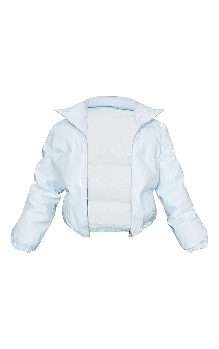 Baby Blue Cropped Vinyl Puffer Jacket 5