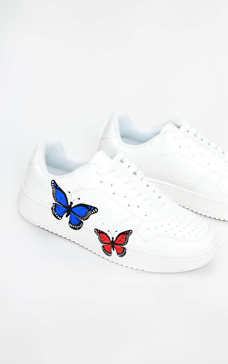 White Pu Butterfly Detail Sneakers 3
