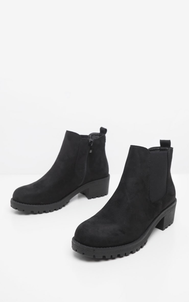 Black Faux Suede Low Heel Cleated Chelsea Ankle Boot 3