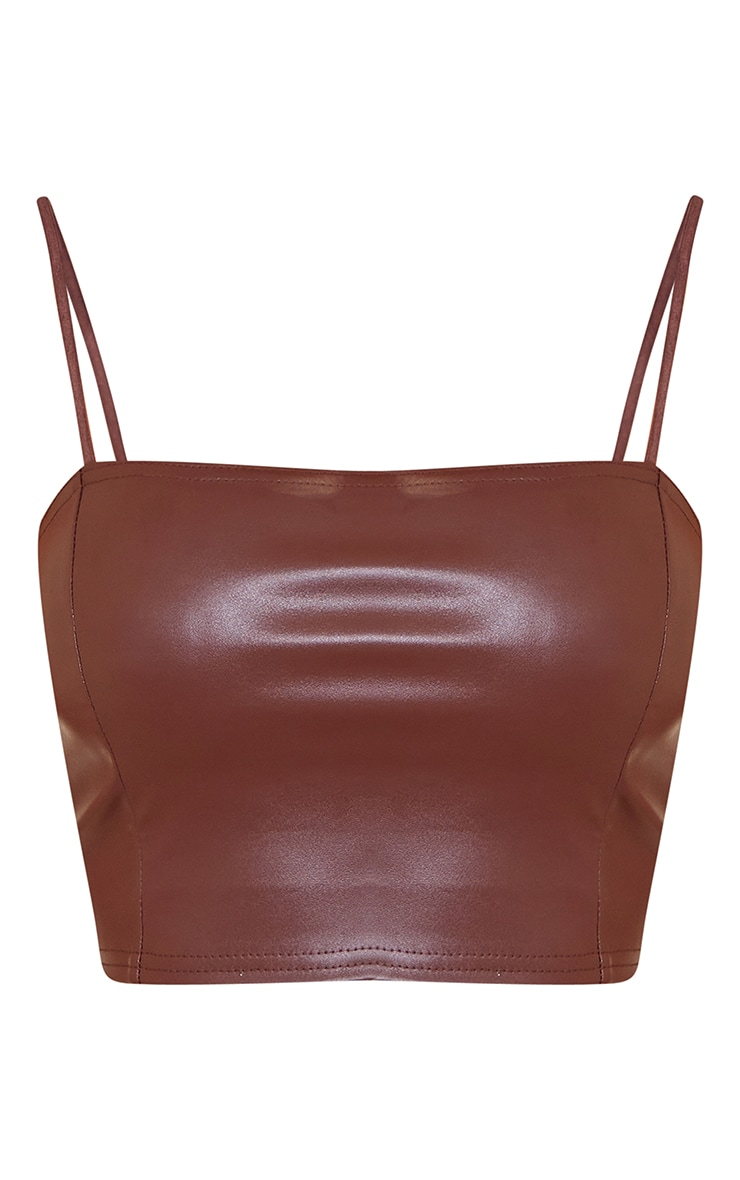 Chocolate Faux Leather Crop Top 5