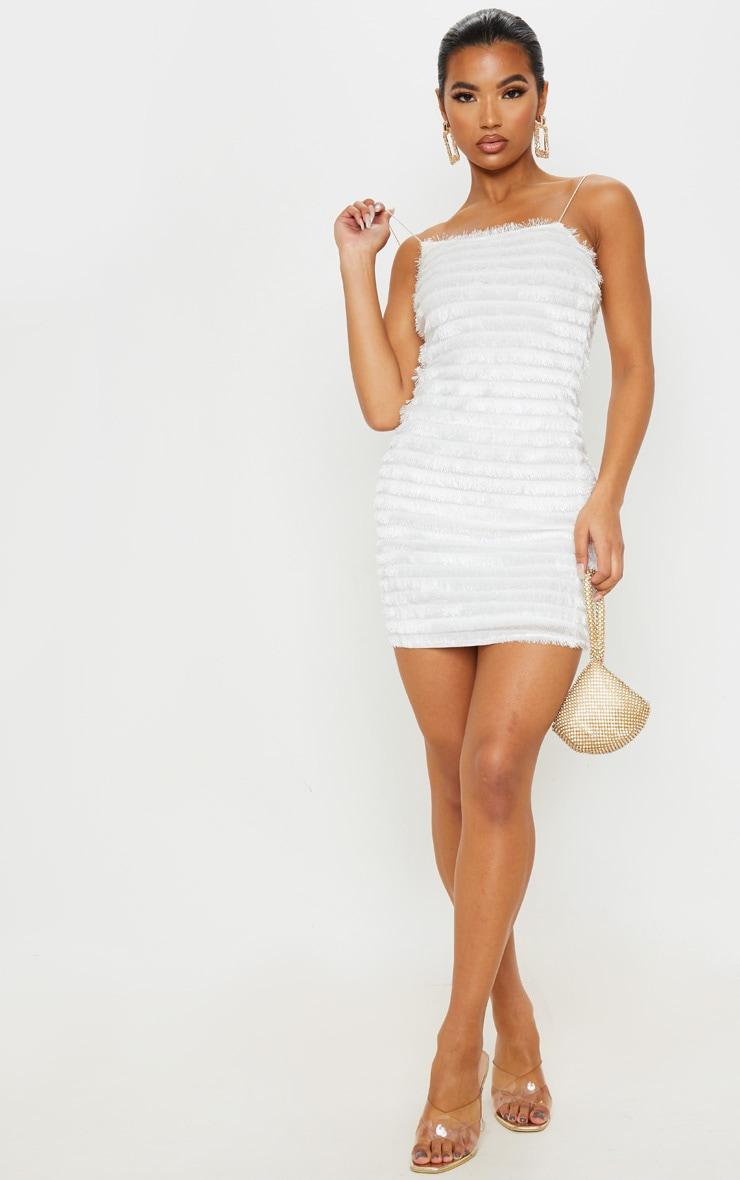 White Fringed Detail Strappy Bodycon Dress 4