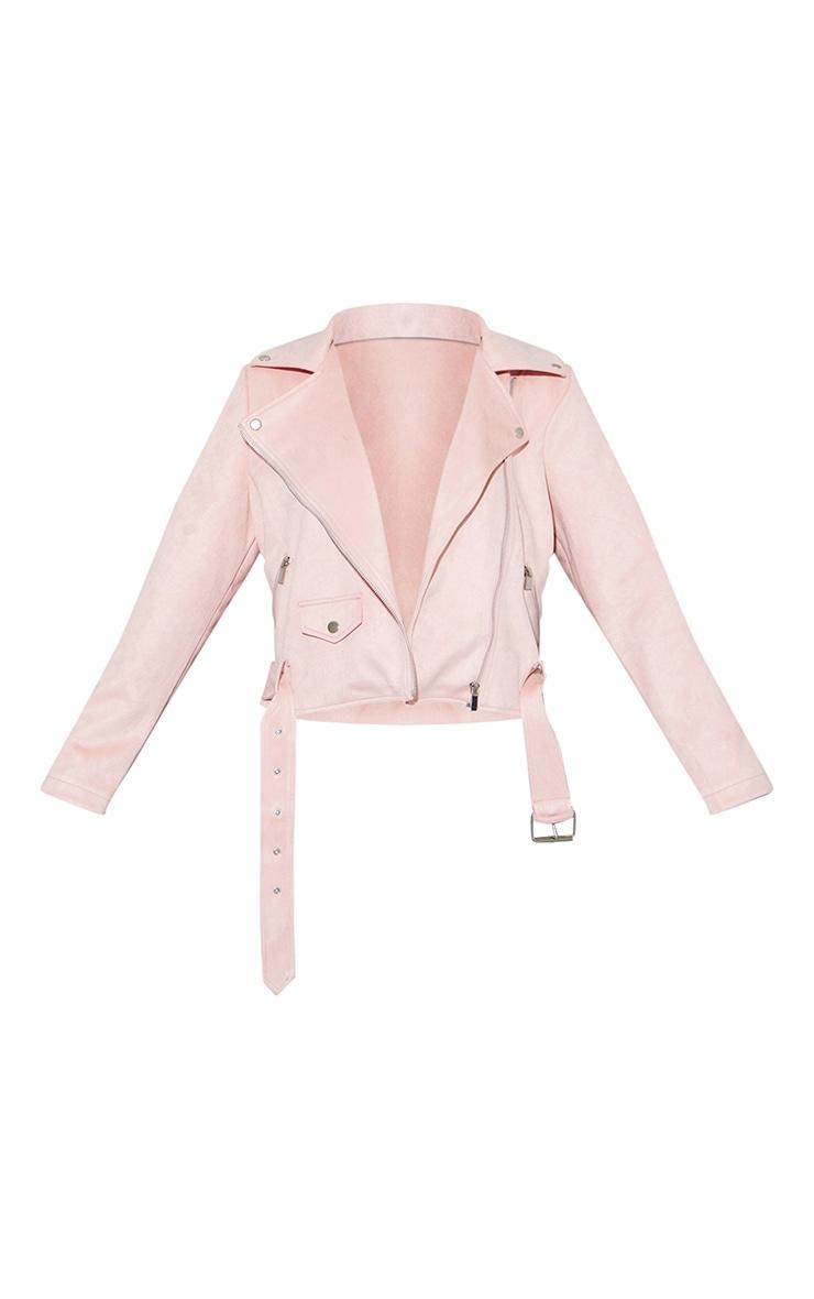 Pale Pink Faux Suede Zip Trim Belted Biker Jacket 5