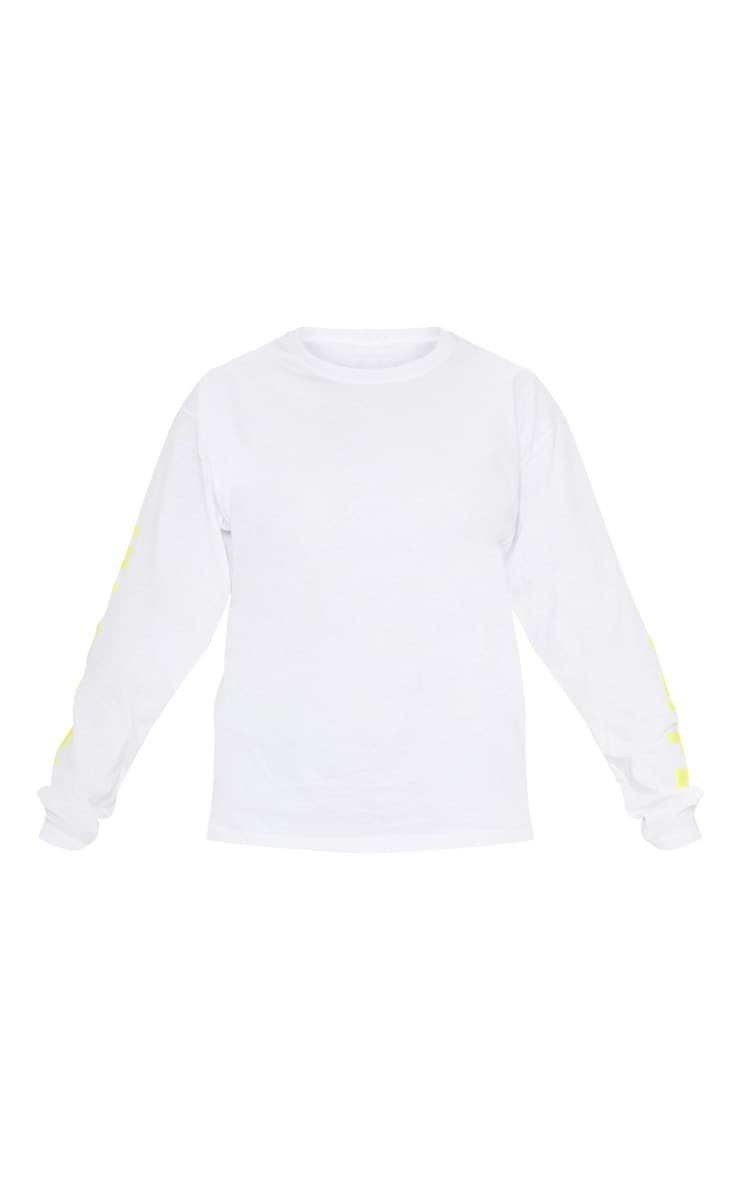 PRETTYLITTLETHING White Printed Long Sleeve T shirt 3