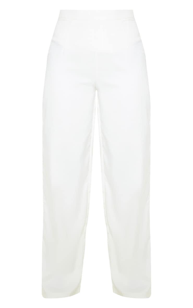 Cream Wide Leg Pleat Front Pants  3
