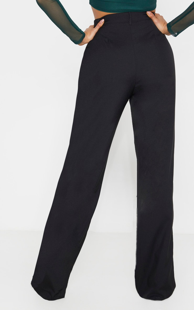 Tall Black High Waisted Straight Leg Pants  4