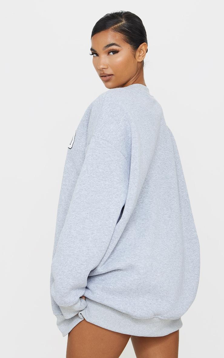 Grey Oakland Slogan Oversized Sweatshirt Dress 2