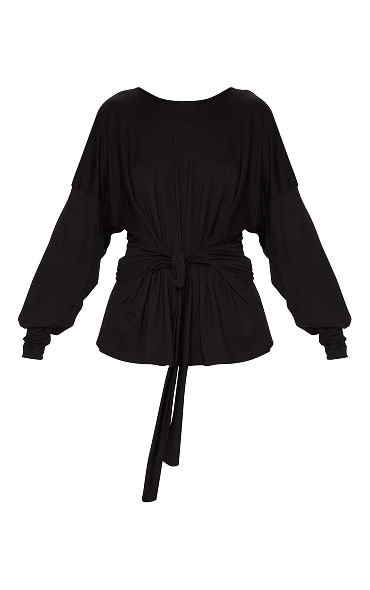 Black Long Sleeve Belted Top 3