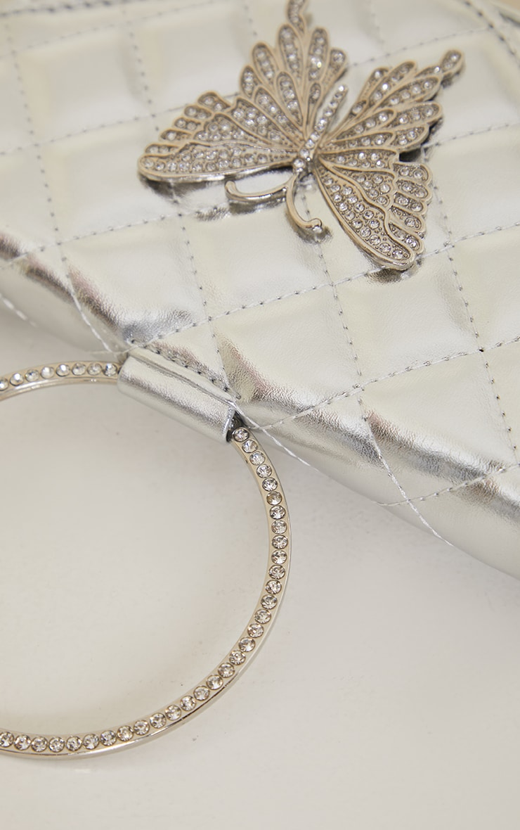 Silver Quilted Circle Handle Butterfly Clutch 3