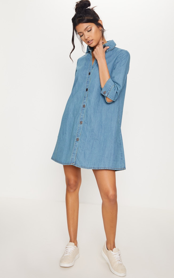 Marriet Mid Wash Button Through Denim Shirt Dress Pretty Little Thing 1oCUmURHl4