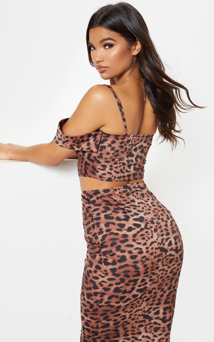 Tan Satin Leopard Print Bardot Strappy Crop Top 2