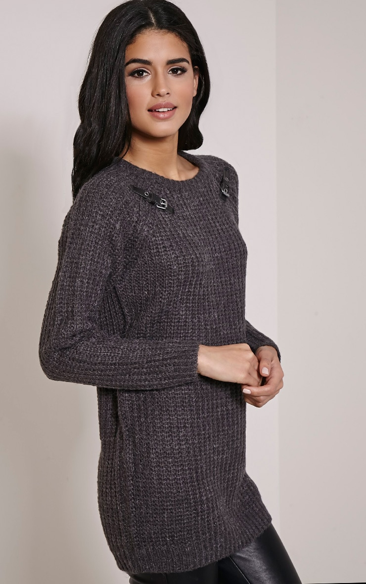 Emily Grey Buckle Detail Knitted Jumper 3