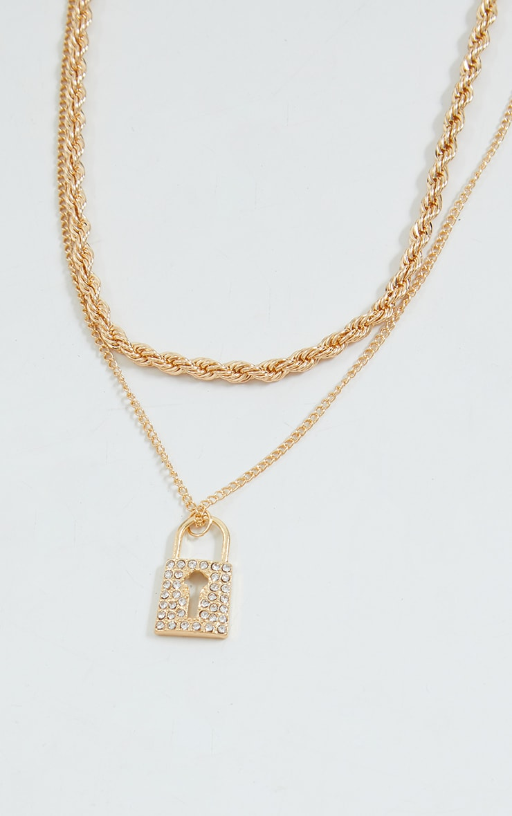Gold Double Layer Padlock Necklace 2