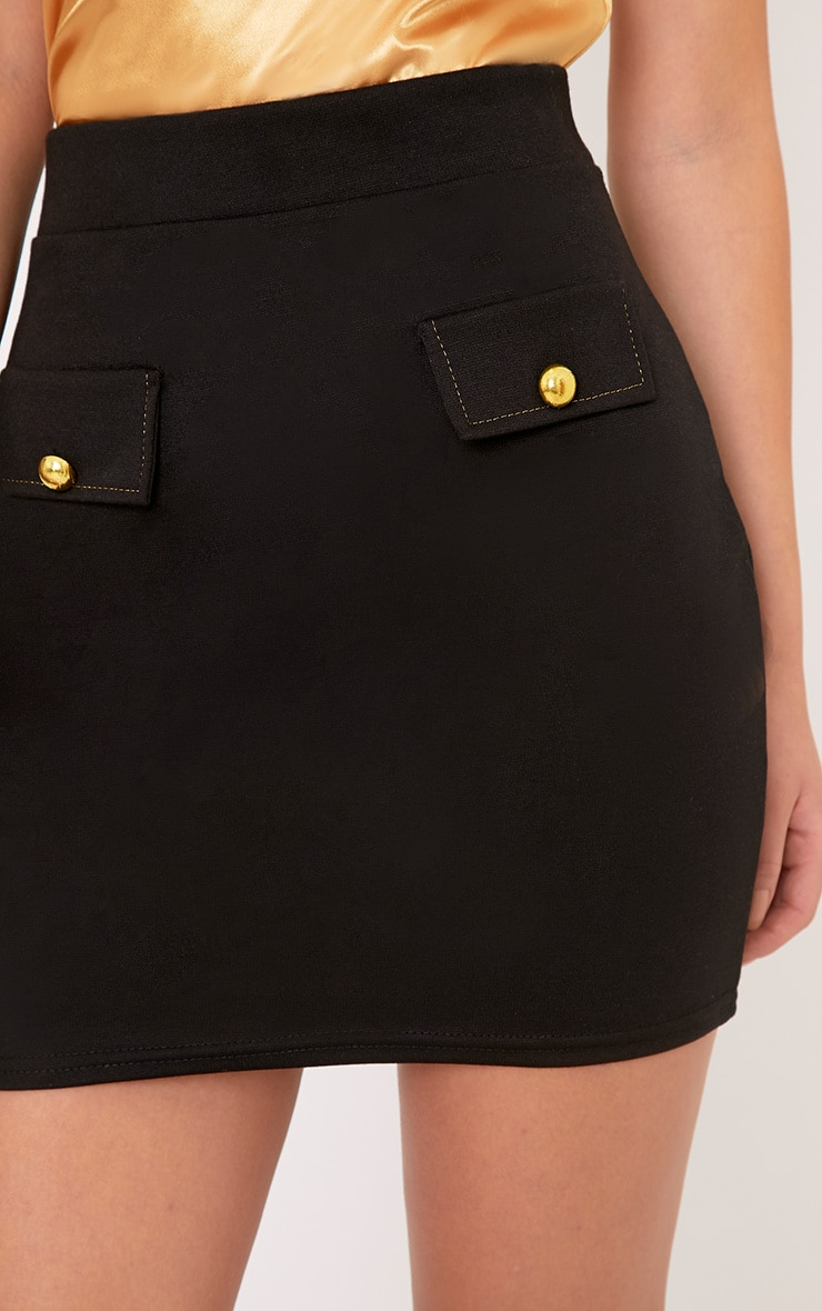 Seraphina Black Pocket Front Mini Skirt  5