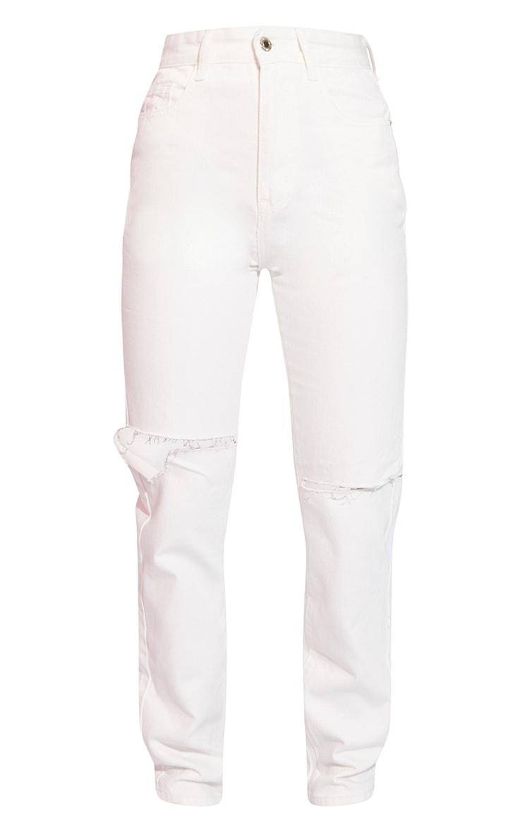 Off White Slash Knee Long Leg Straight Leg Jeans 5