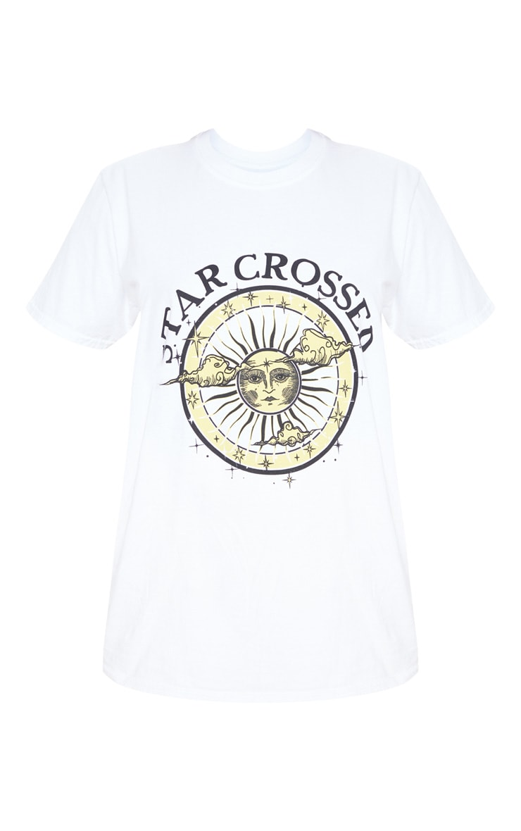 White Star Crossed Oversized Slogan Fitted T Shirt 3