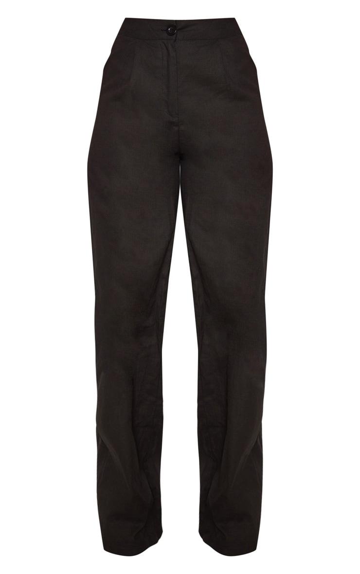 Petite Black Wide Leg High Waist Pants 3